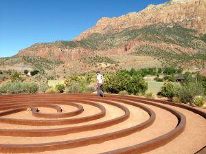 Mr.YemenEm contemplates lfe, or lunch, while strolling through this Zen garden in Springdale, Utah.