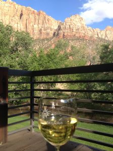 The view from the deck of the Desert Pearl Inn in Sprindale, Utah
