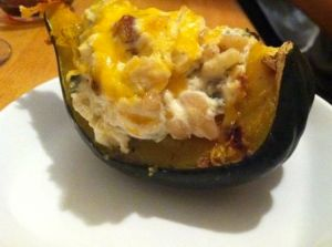 Acorn squash with ricotta and pears.