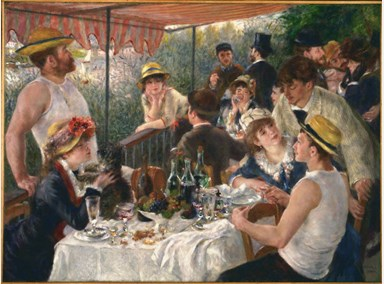 "Pierre-Auguste Renoir's Luncheon of the Boating Party, 1880-81. This painting makes me want to crawl inside of it. And to start using the word ""luncheon"" instead of lunch."