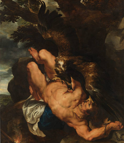 """Tityus, Titian. 1548 - 1549, This painting, on display at the Prado in Madrid, is rumored to have inspired Alfred Hitchcock's """"The Birds."""""""