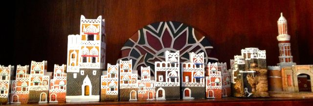"These are replicas of the ""gingerbread"" houses common in the Old City of Sana'a, Yemen."