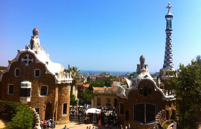 View to the Mediterranean Sea from Park Guell.