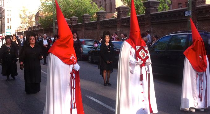 Samana Santa (holy week) is serious business in Madrid. Parades like this one are all over.