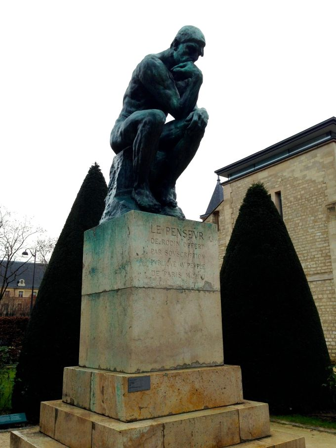 "Rodin's ""The Thinker"" pondering his goals for the New Year."